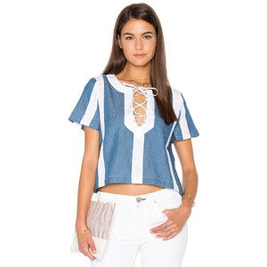Lucca Couture Textured Denim Combo Lace-Up Top