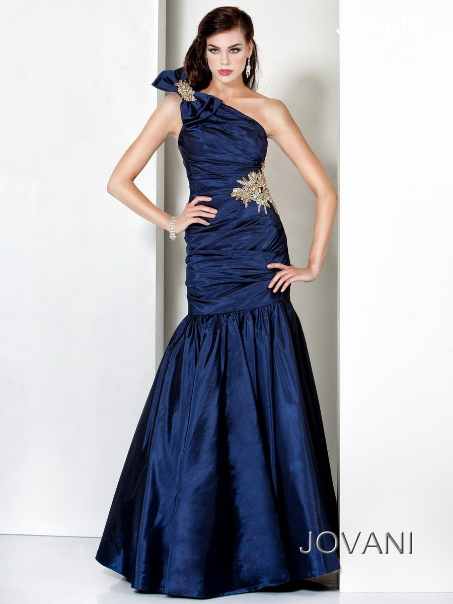 Ruched and Beaded Gown, Style 3511