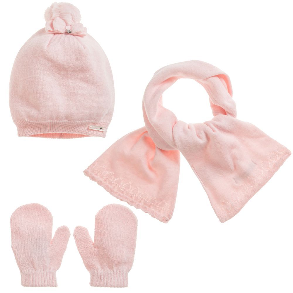 25cfb30ff Mayoral Baby Girls Pink Hat Set at Childrensalon.com