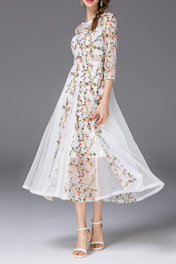 Flower Embroidered See Through Swing Dress Moda Para Mujer Vestidos De Fiesta Vestido Senora