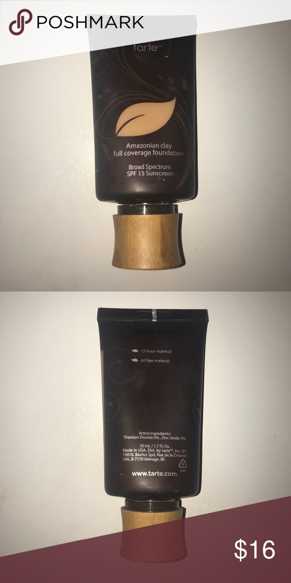 TARTE Amazonian clay full coverage foundation In the color medium beige, it works great for light-medium skin tones and is a little more than half way full tarte Makeup Foundation