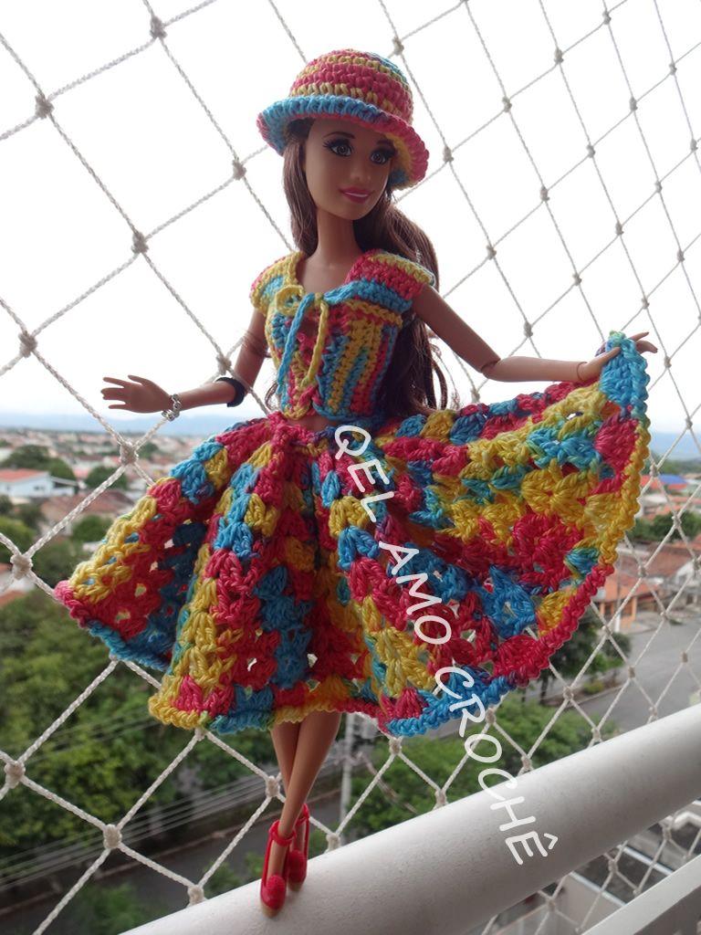 Barbie #Vestido #Chapéu #Doll #Crochet #RaquelGaucha   Barbie ...