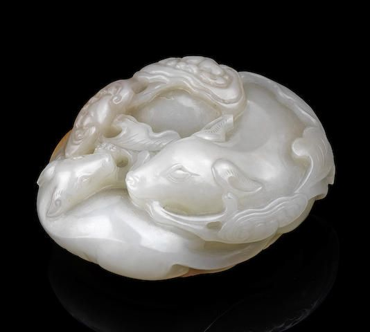 A white and russet jade 'badgers and lingzhi' carving Qianlong (2)
