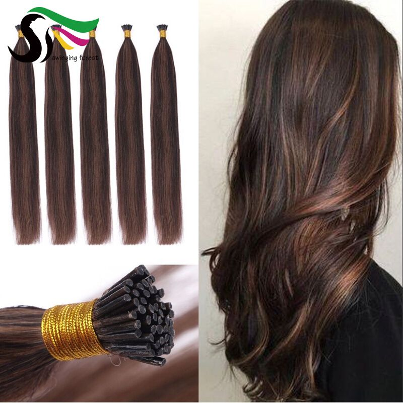 Whatsapp: +86 18561632523 Order it right now! #P2/8 I Tip Hair Extensions Straight Balayage Brown Pre Bonded Fusion Hair