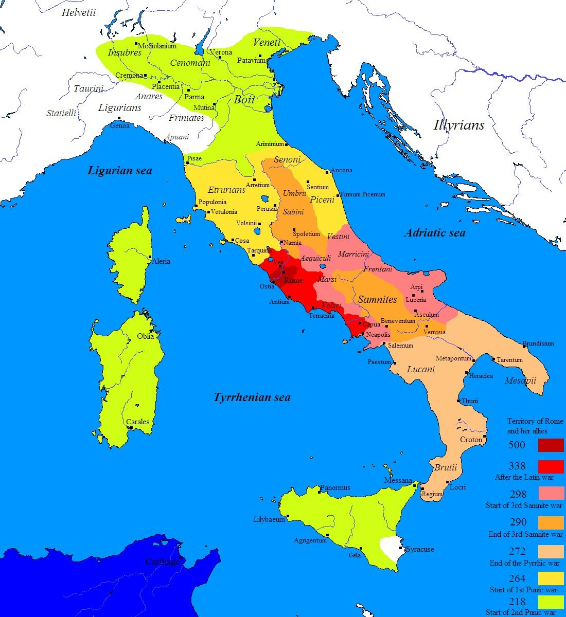 Roman Conquest Of Italy Through The Latin War Red Samnite Wars