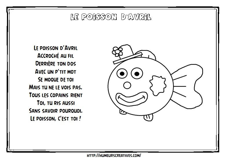 Comptines et chansons poisson avril comptine poisson chansons comptines et bricolage - Coloriage poisson maternelle ...