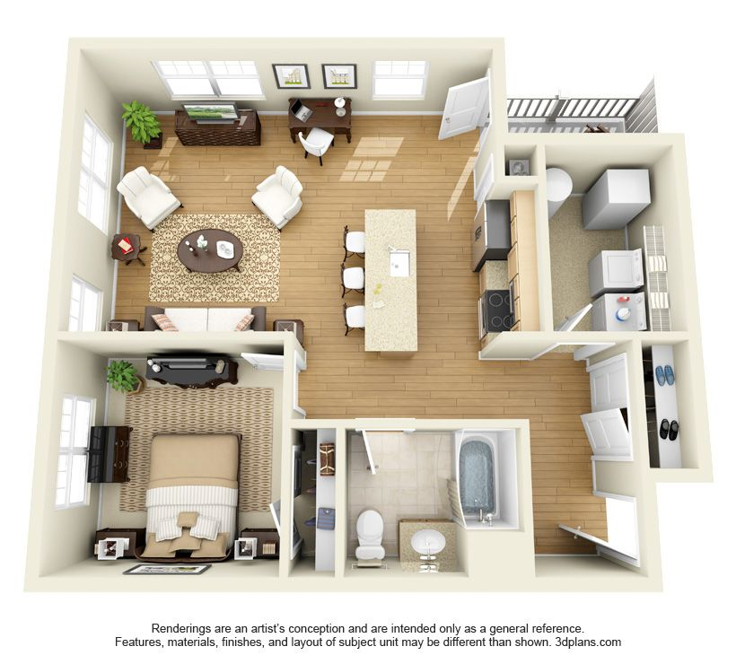 One Bedroom Apartment Floor Plan.
