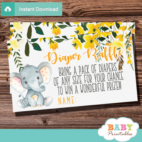 Printable Gender Neutral Floral Yellow Elephant Diaper Raffle Tickets. The elephant diaper raffle tickets feature an adorable baby elephant sitting against a white backdrop decorated with a  draping watercolor floral arrangement in yellow accents. #elephantbabyshower #babyshowerideas #genderneutral #babyshowergames