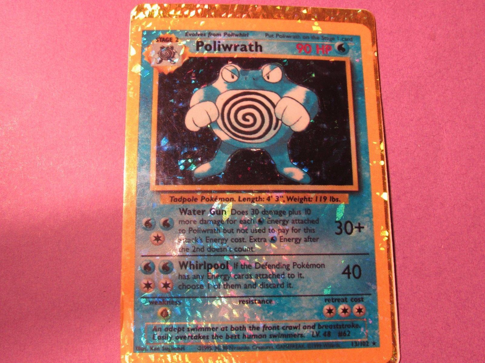 Pokemon RARE POKEMON Poliwrath 90 HP 13 102 SPARKLE Design HOLO SHINY