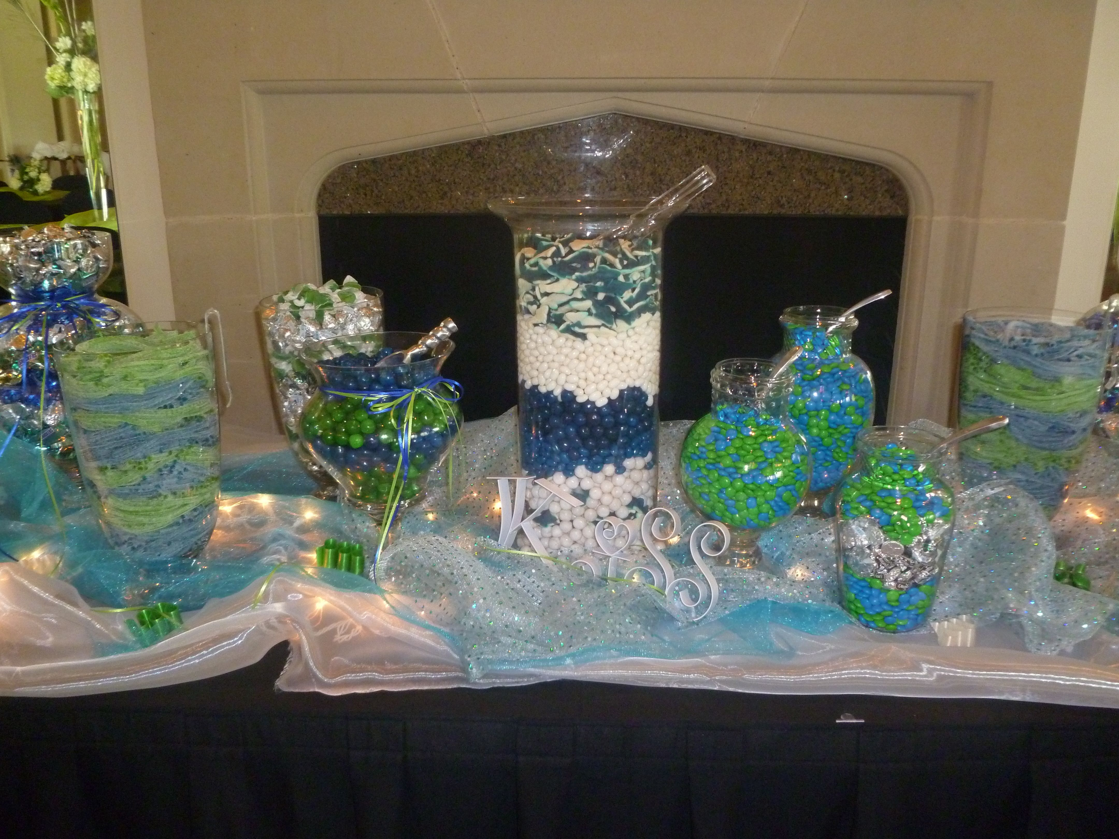 wedding shower candy buffet ideas%0A Candy bar at the Irving wedding  colors were blue  turquoise and lime green