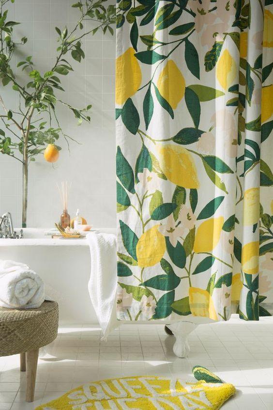 allover fruits shower curtain in 2019 home bathroom shower rh pinterest com