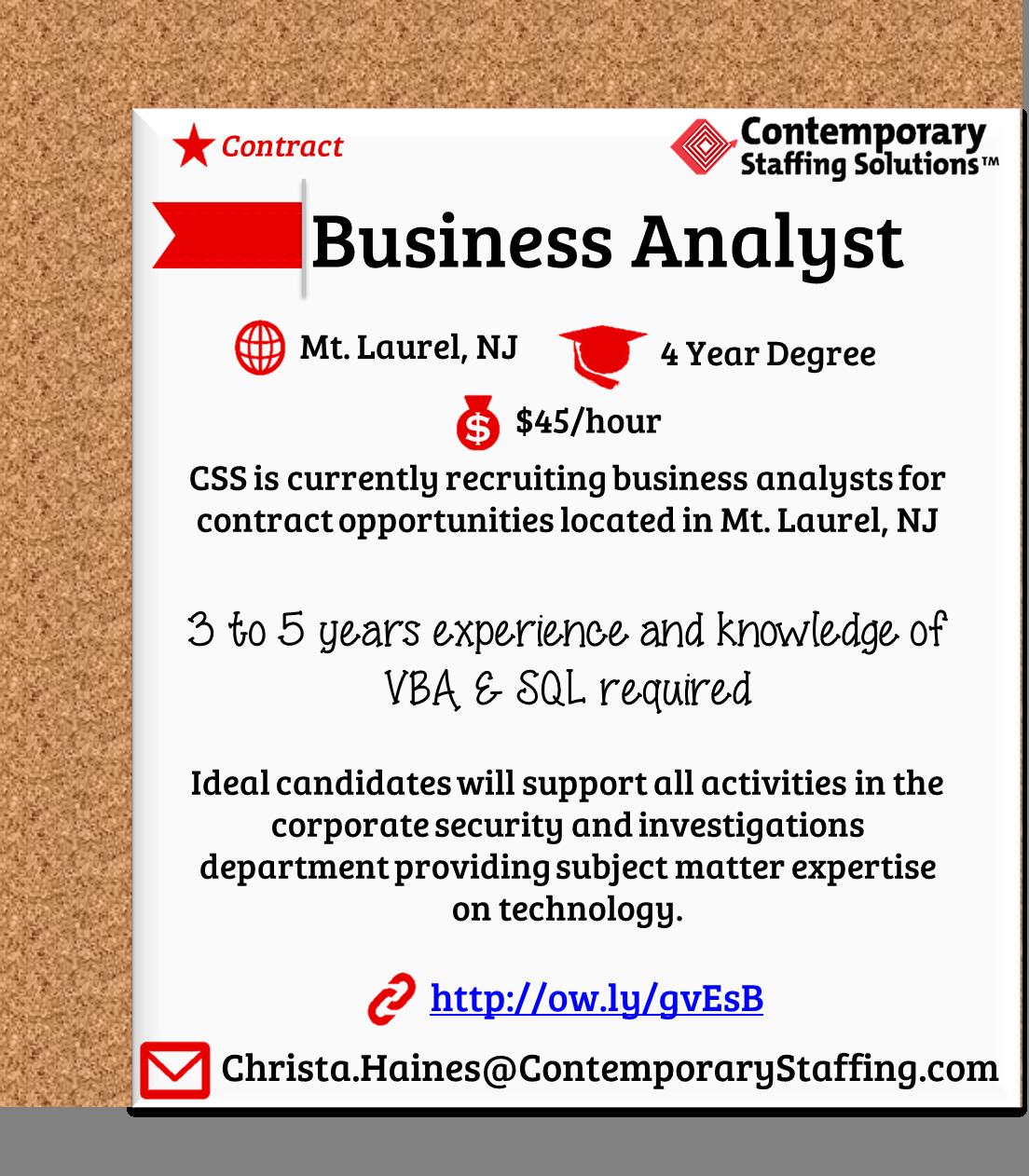 CSS is #hiring Business Analysts in Mt.Laurel, NJ| $45 ...