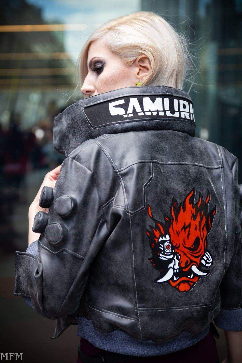 Cyberpunk 2077 Jacket Character V Samurai Light Up Bomber Leather Jacket Jackets Gaming Jackets Leather Bomber Jacket [ 1200 x 800 Pixel ]