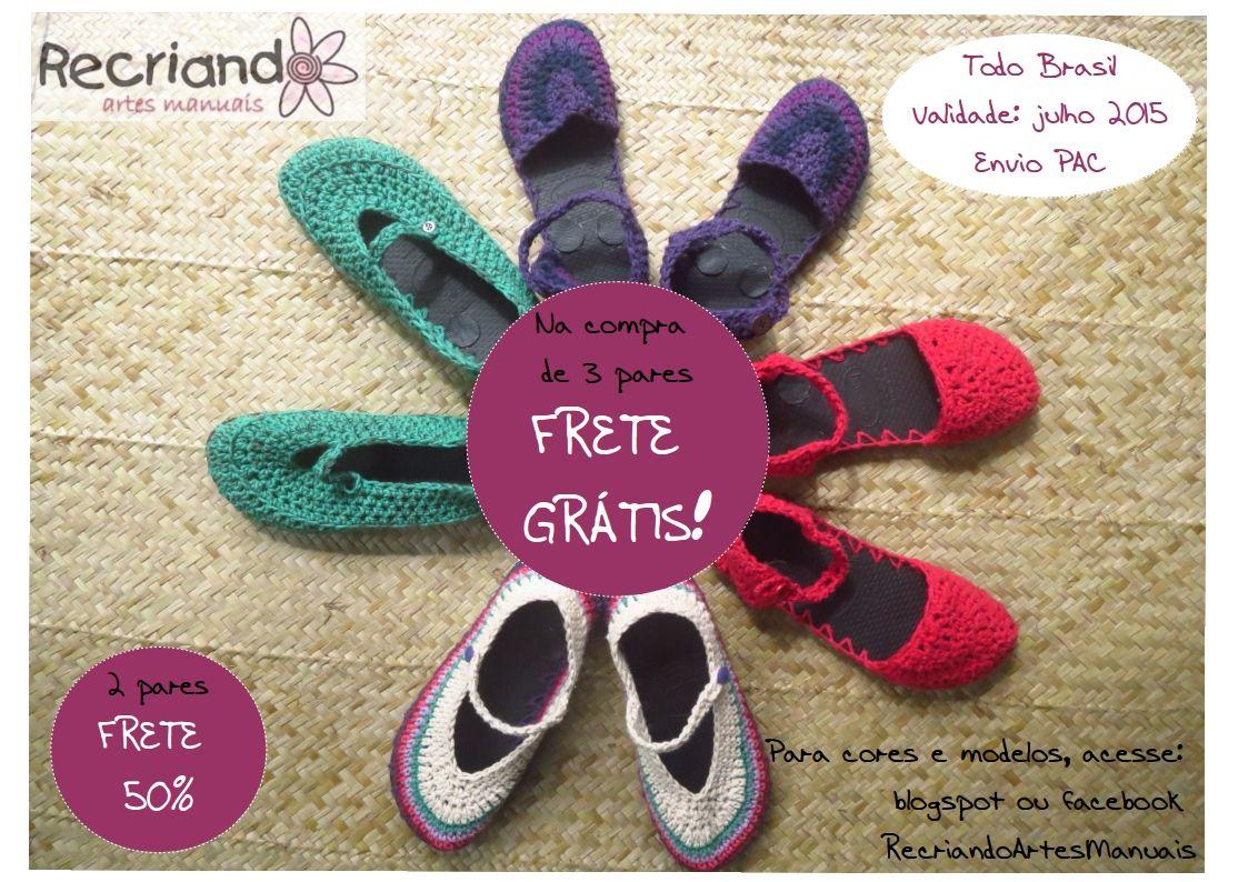... Recriando Artes Manuais ...: Escolha as cores e modelos - sapatos de crochê