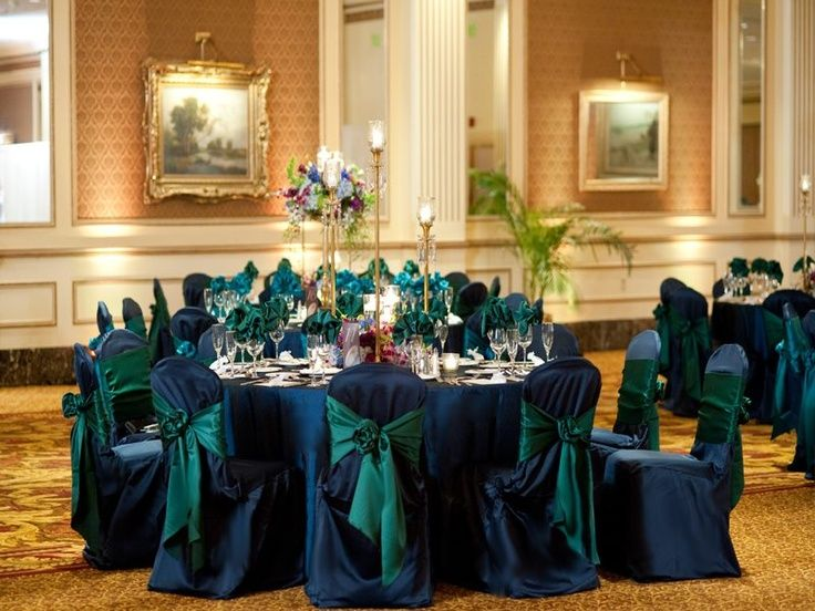 Peacock Green And Navy Blue Wedding Reception Linens And Chair