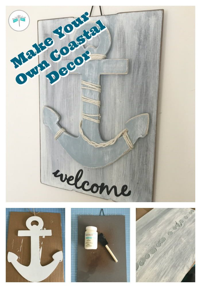 Create a coastal welcome sign using a craft wood anchor and a thrift store find sign. #beachdecor #anchordecor #nauticaldecor #coastaldecor #diybeachdecor #diycoastaldecor