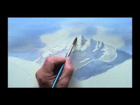 Snow Capped Mountain Landscape Watercolor Painting Done In A Basic