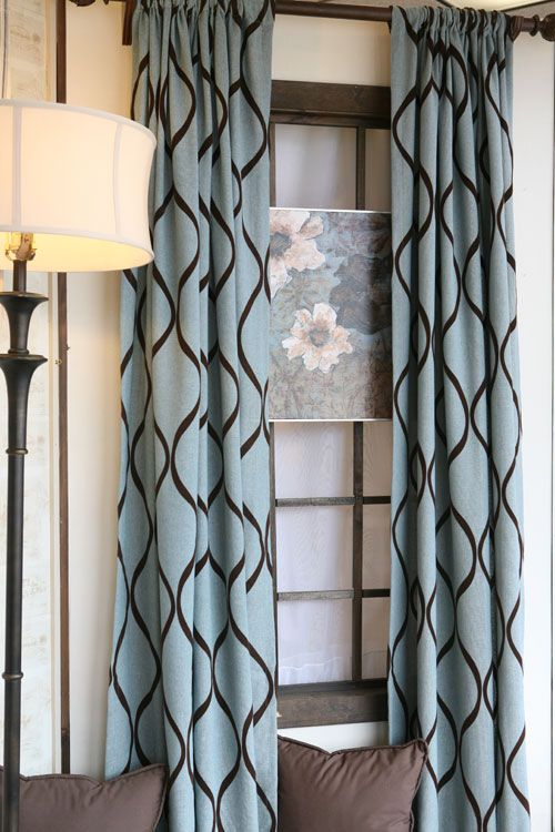 Curtain Panels In Turquoise And Brown
