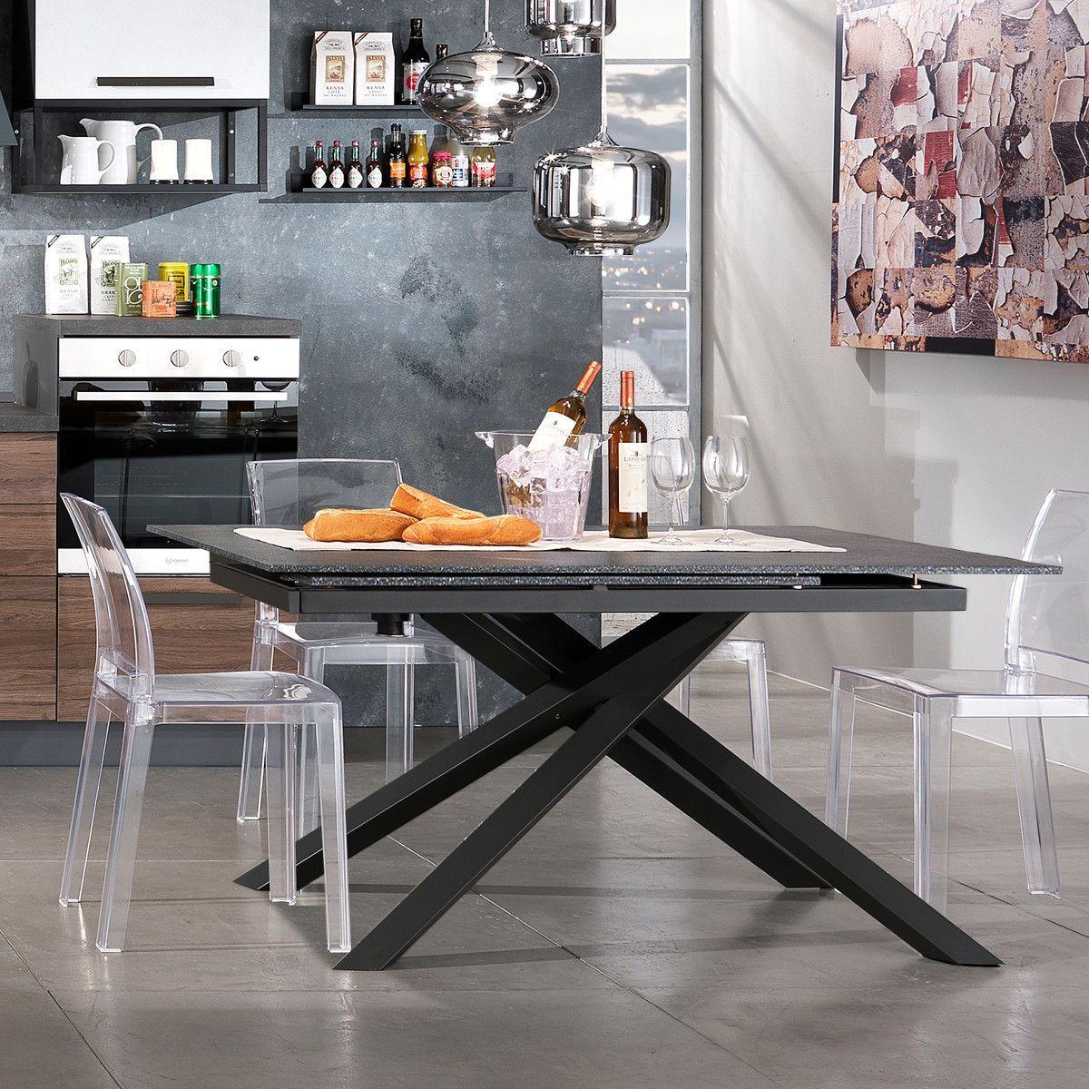 Tavolo da Cucina IPOTIUS Moderno Tavolo da Pranzo in Vetro Rotondo per 4 Persone 90x90x75cm Bianco Gambe in Metallo Bianca