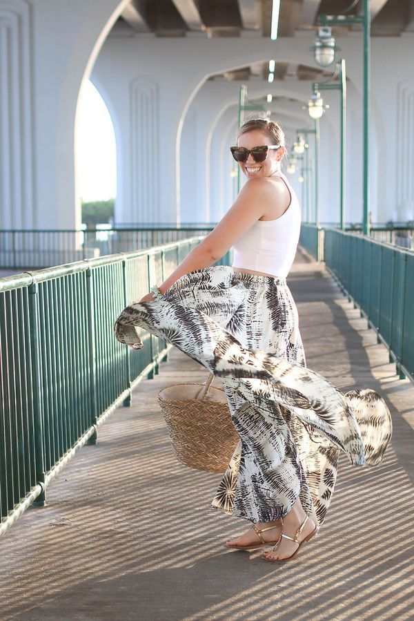 The perfect summer outfit for your travels. Golden Hour in Vero Beach Florida | Beach Vacation Outfit | White Crop Top Printed Maxi Skirt M.Gemi Sandals | Fashion Living After Midnite Style Blogger Jackie Giardina
