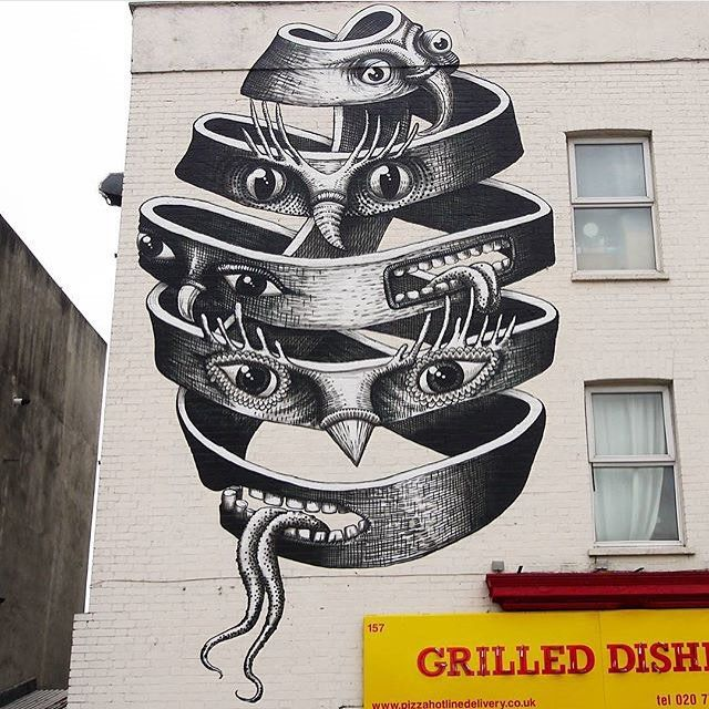 "behind_streetart: ""#streetartist : Phlegm #streetart #title : No title #where : #SouthLondon  #created : #2015  #who is the #global #artist: Phlegm is a world-known #cartoonist and #illustrator . He is also well known for his self-published #comics and highly #creative street art. Phlegms work is distinctively detailed composed of odd figures and a narrative structure. His work inspires greatness and is even often inspired by graffiti where Phlegm transforms run down #urban spaces and…"