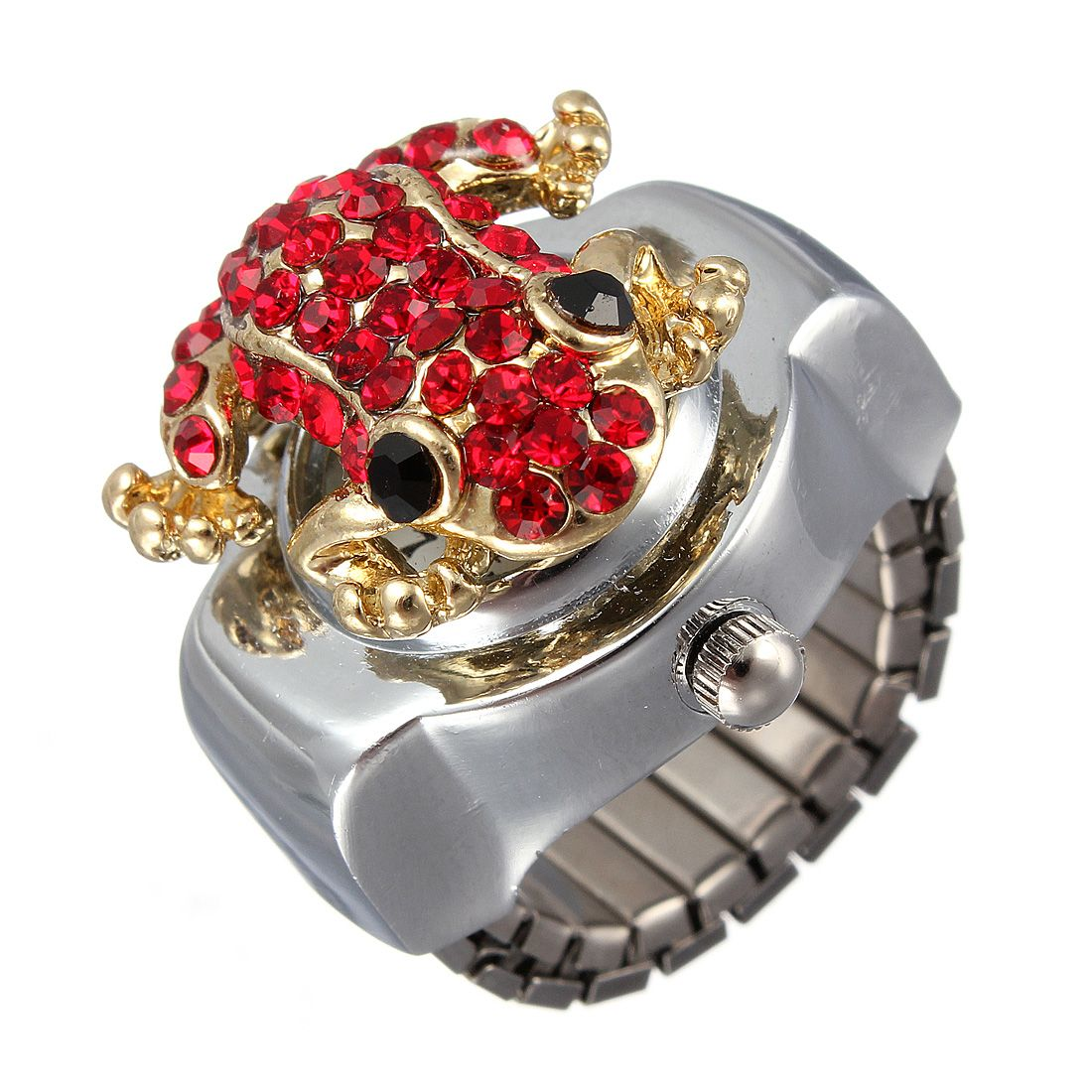 Steel Frog Rhinestone Crystal Ring Watch
