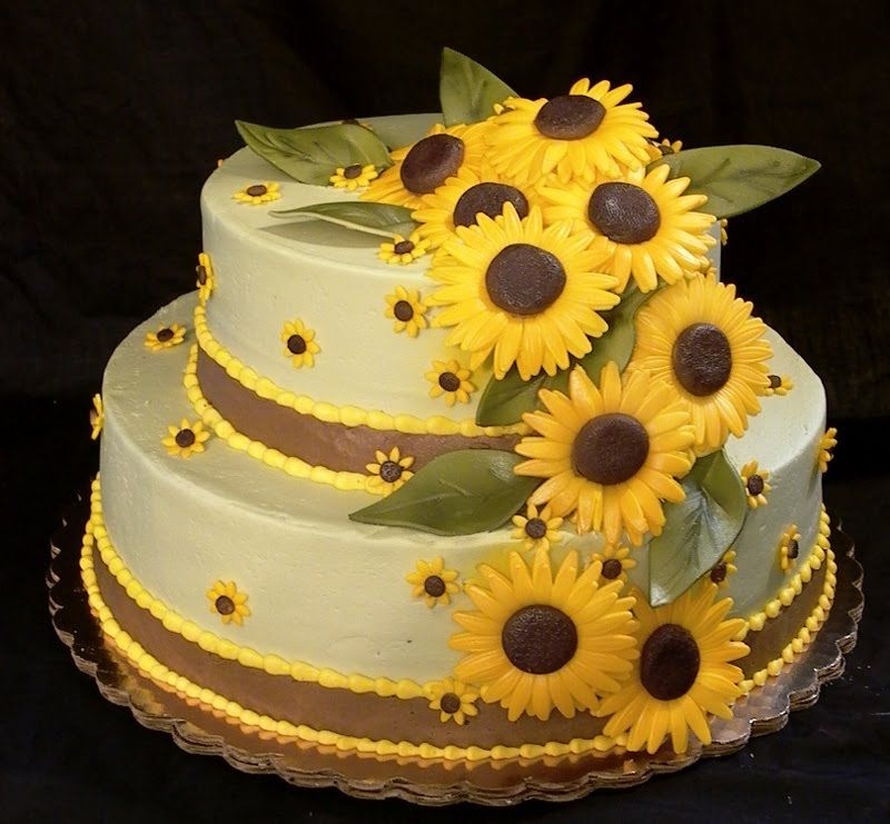 beach themed wedding cakes pinterest%0A sunflower themed painted furniture ideas   Elegant two tier square wedding  cake with sunflowers