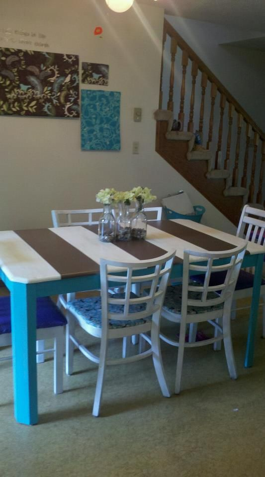 diy striped kitchen table from 5 goodwill find things i made rh pinterest com