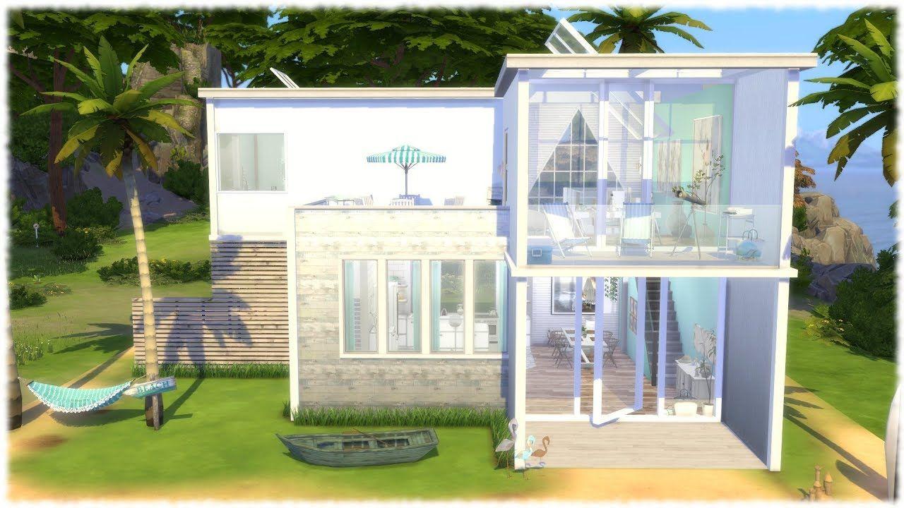 the sims 4 speed build modern beach house cc links youtube rh pinterest com
