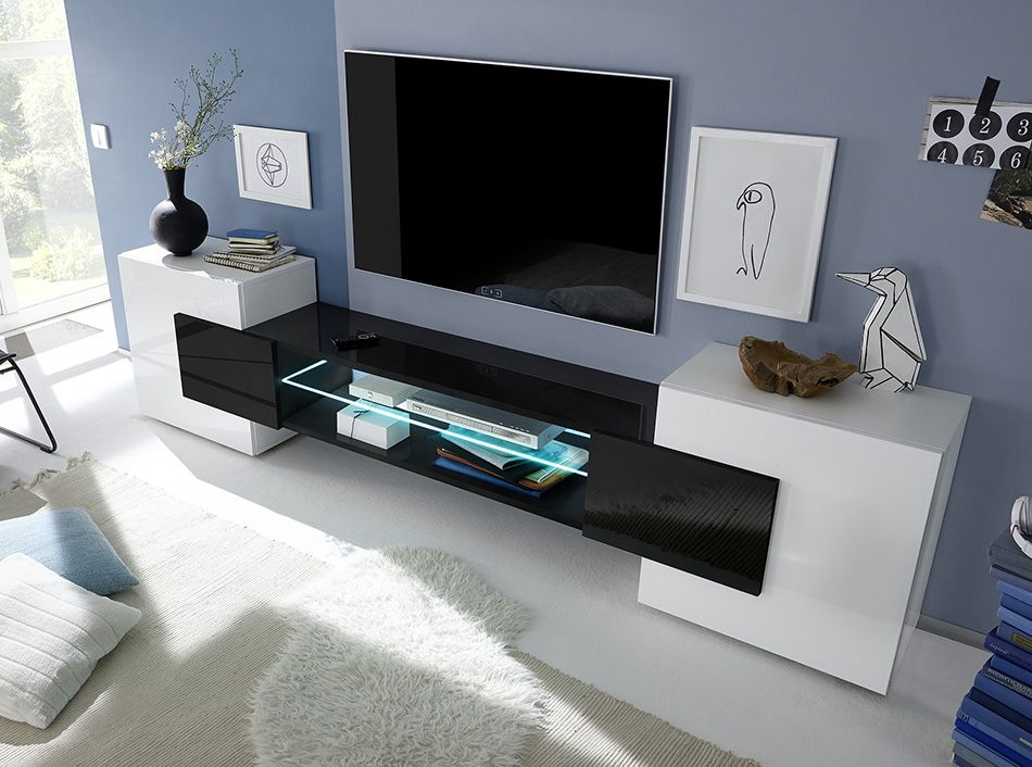 Modern TV Stand Incastro Low Black by