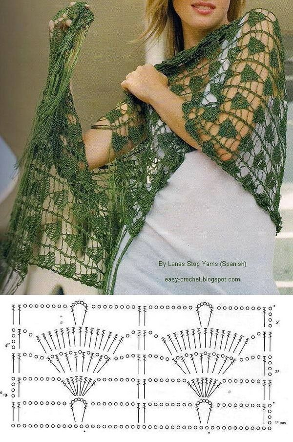 Crochet Mais | Gráfico de tejido | Pinterest | Chal, Ganchillo y Tejido
