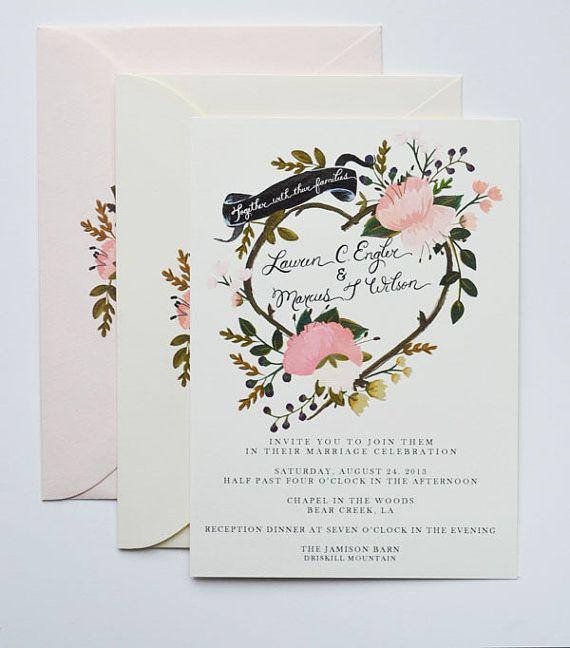 Benutzerdefinierte Handgemalte Hochzeit Einladung Von Firstsnowfall |  Hochzeit | Pinterest | Einladungen, Hochzeit Einladungskarten Und Karten DIY