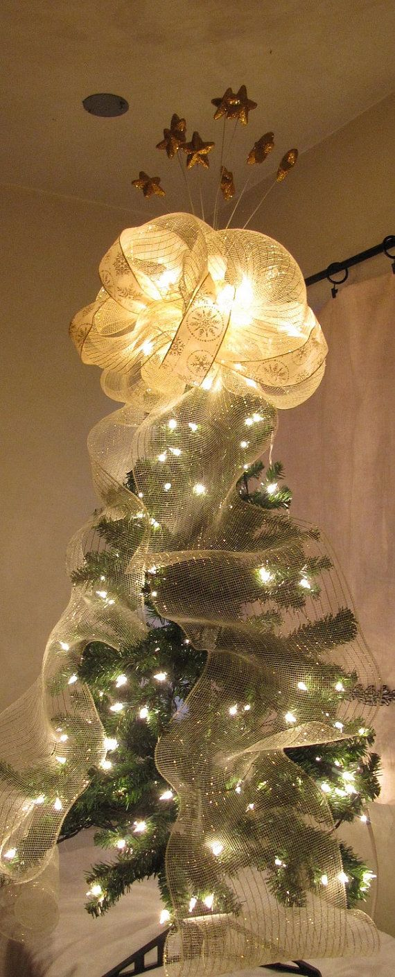 christmas tree topper lighted tree top bow by christmastreetops - Lighted Christmas Tree Toppers