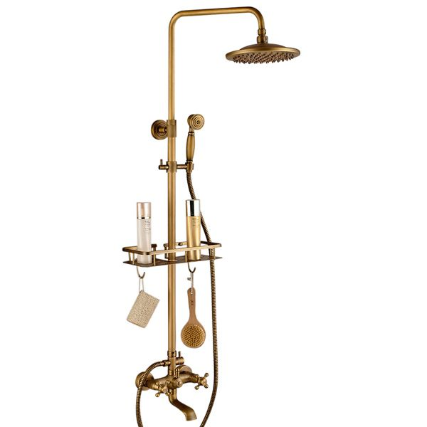 Photo of Buy Naples Antique Brass Rainfall Shower Set with Shower Caddy One Week Sale!