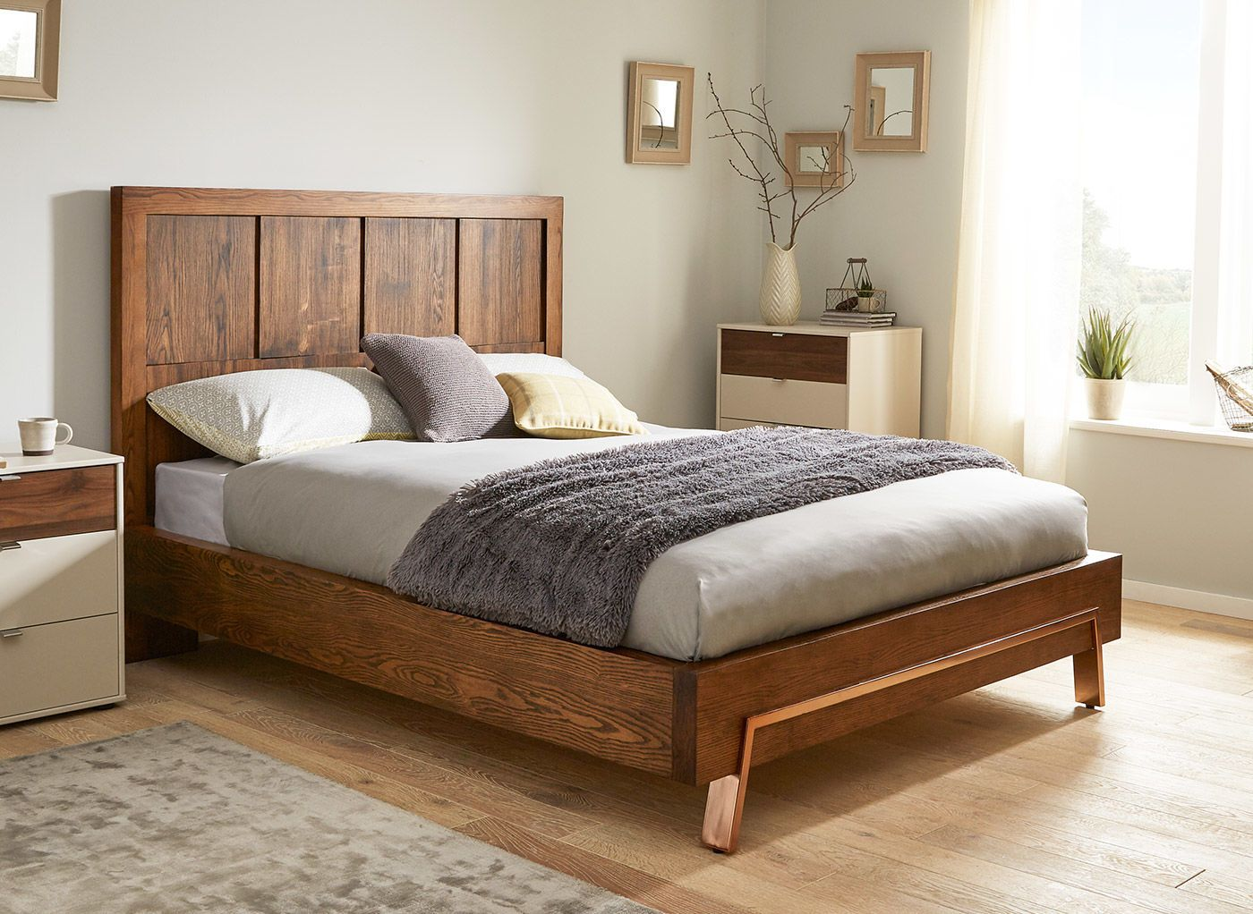 With A Grand Panelled Dark Wood Headboard And On Trend Copper Detailed Legs  And Foot End, The Grant Bed Frame Offers A Stylish Twist On A Traditional  ...
