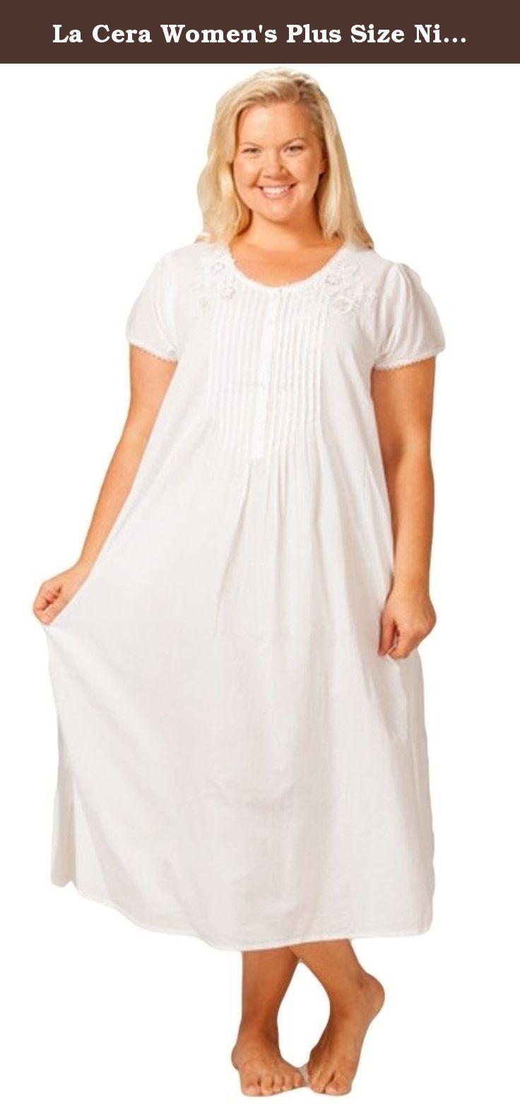 La Cera Women S Plus Size Nightgown 1x White Soft Easy Cotton Nightgown In A Sweet Soft White Cotton Cambric This Night Gown Cotton Night Dress Fashion [ 1562 x 736 Pixel ]