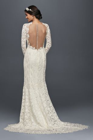 Lovely Long Sleeve Lace Wedding Dress with Open Back Style MS