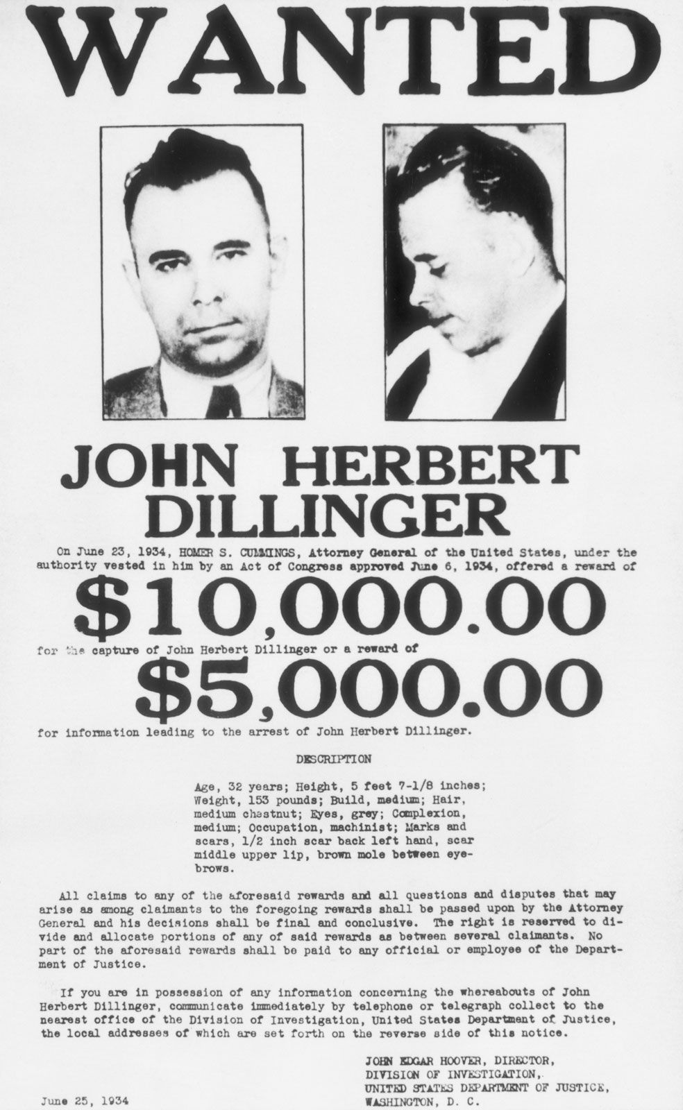 Dillinger Wanted Poster History Pinterest History 1920s