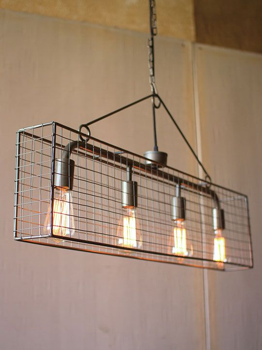 industrial caged rectangle chandelier modern furniture u2022 brickell rh pinterest com