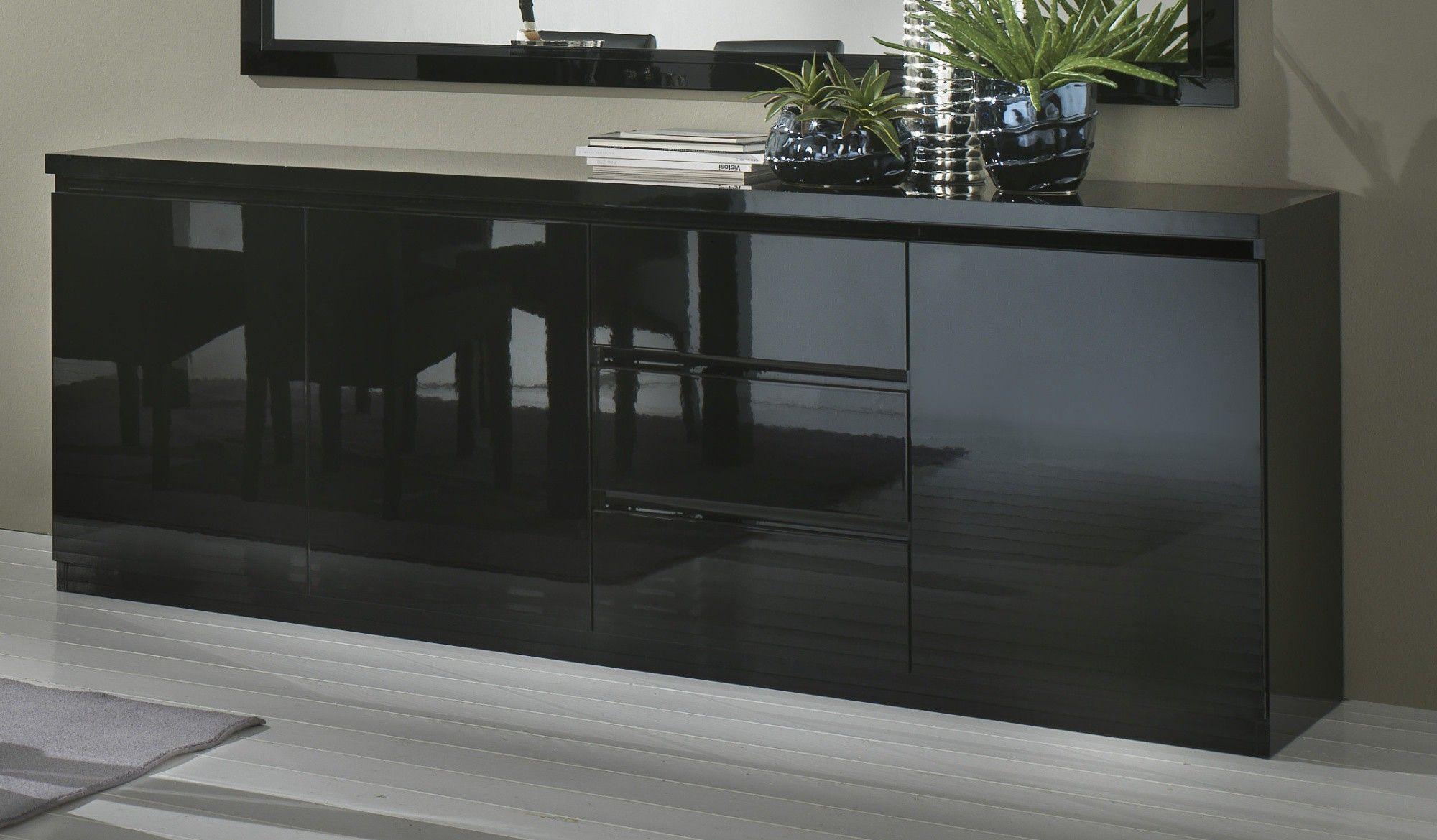 Buffet/bahut design 3 portes/3 tiroirs laqué noir Solene ...