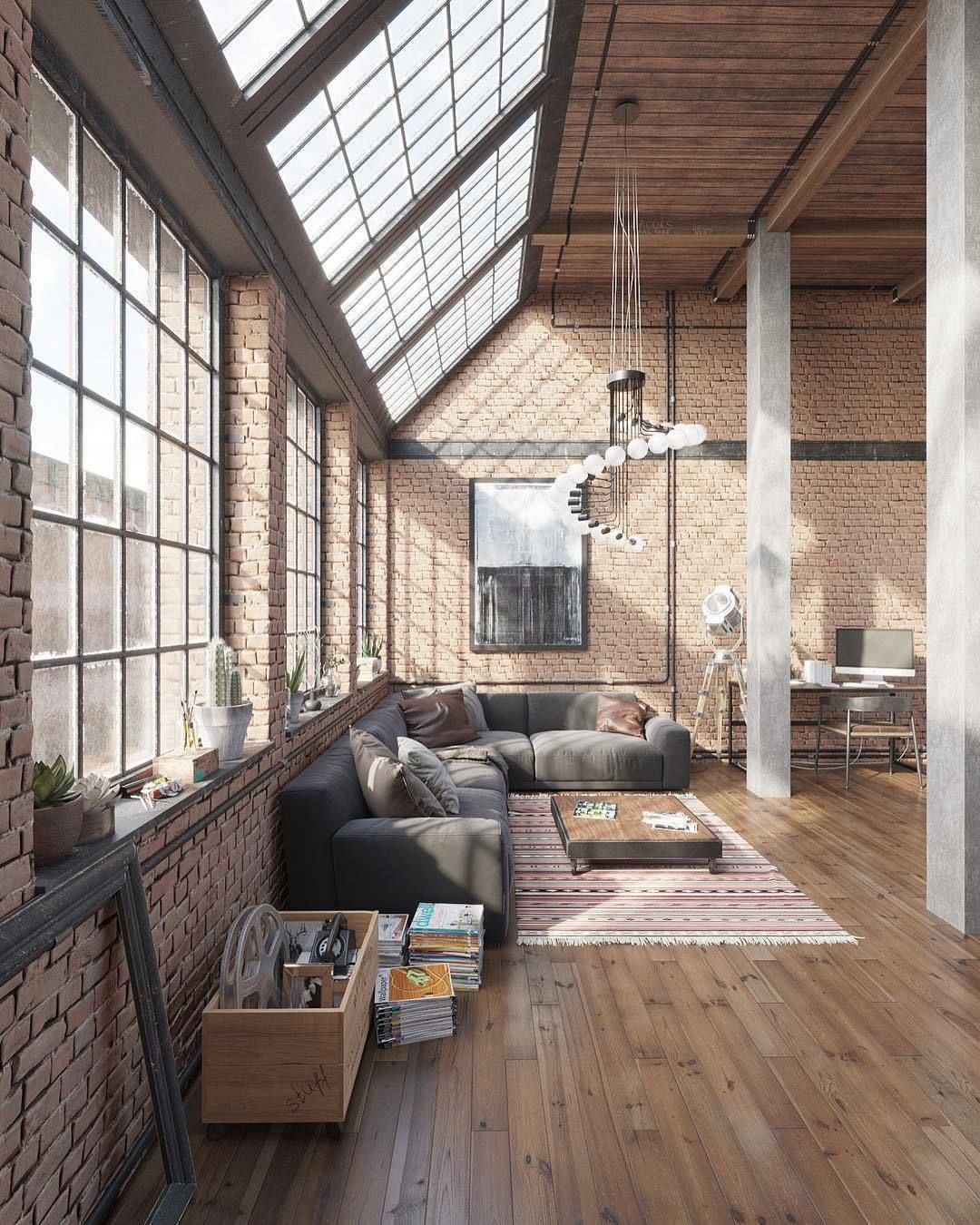 interior design architecture homeadore no instagram industrial loft visualization by. Black Bedroom Furniture Sets. Home Design Ideas