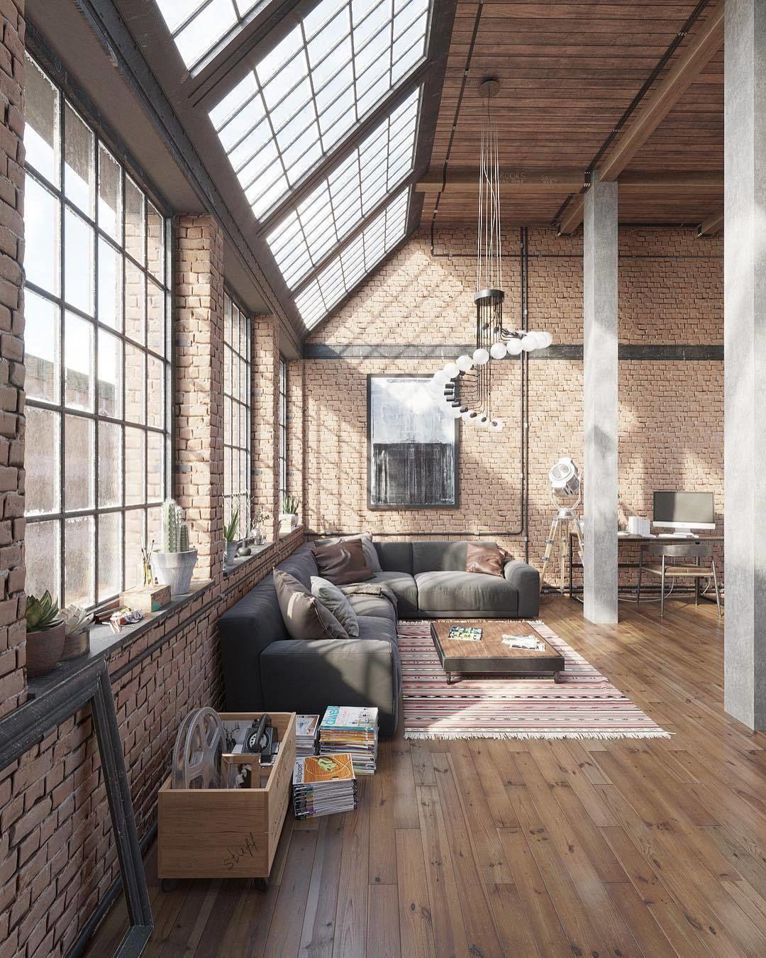 Interior Design  Architecture homeadore no Instagram Industrial Loft Visualization by