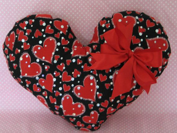 THROW PILLOW Heart Shaped Red Black And Silver by fragilegarden, $20.00