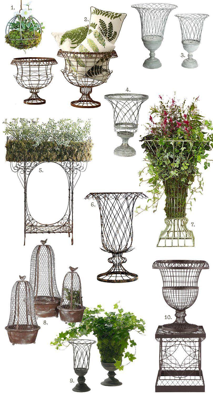 French Inspired Outdoor Wire Planters In 2020 Pflanzenkubel Fur Den Garten Pflanzen Topf Und Kubelpflanzen