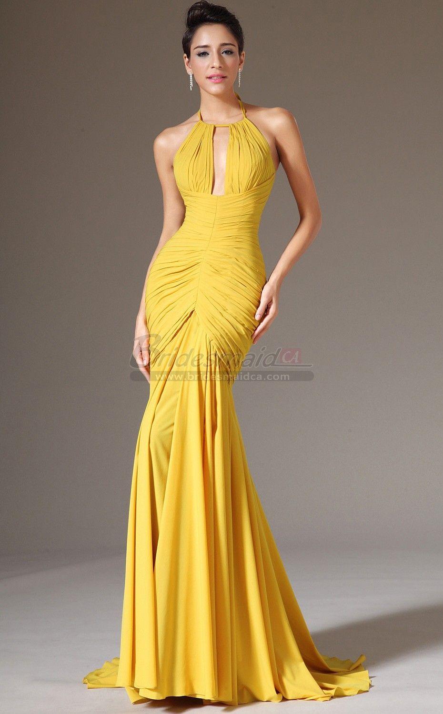 752556ca9cb8 Long Halter Chiffon Yellow Empire Waist Mermaid Bridesmaid Dress JT-CA1403