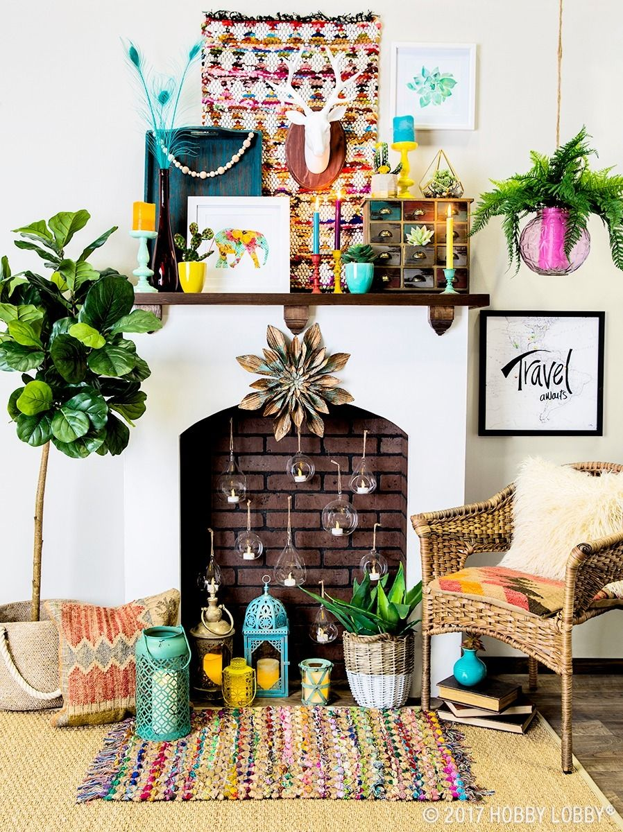 Add flair to your mantel with bright eclectic pieces