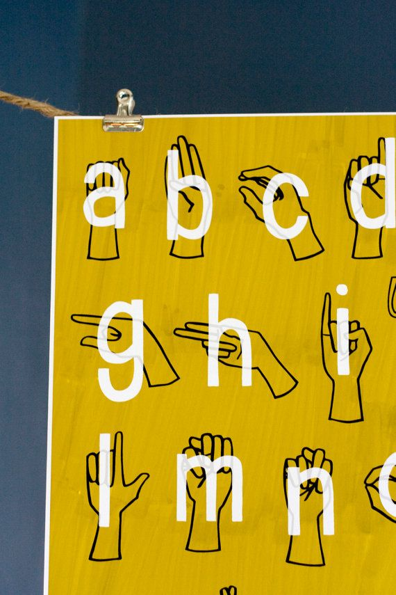 american sign language asl alphabet poster print 8 x 10 gold rh in pinterest com