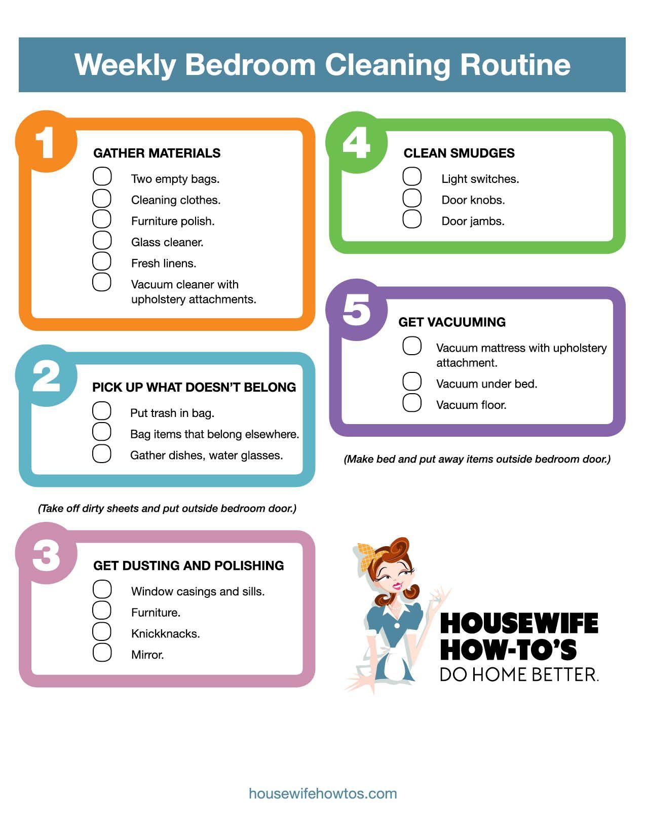 Weekly Bedroom Cleaning Checklist Printable