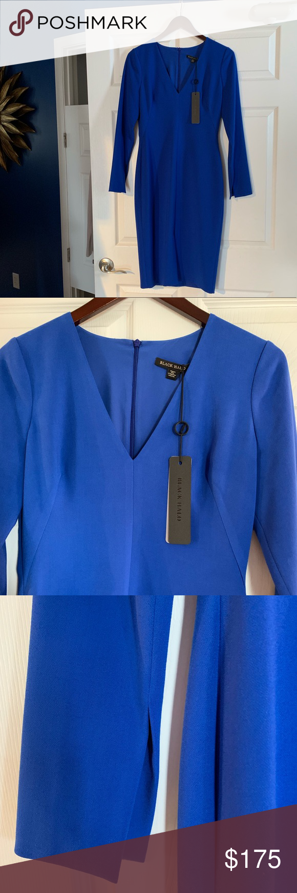 c7e2bd74 NWT Black Halo Sambora Sheath Dress Be bold in this stunning cobalt blue  long sleeve sheath dress. Perfect for cocktail parties, weddi…