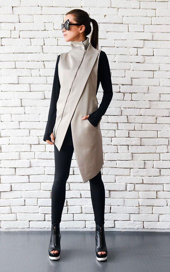 Beige Elegant Zipper Vest/Asymmetric Casual Long Top/Extravagant Dinner Tunic/Sleeveless Beige Coat/Beige Collar Shirt/Office Shirt Top #zippertop